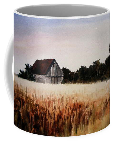 Landscape Coffee Mug featuring the painting White For Harvest by Rachel Christine Nowicki