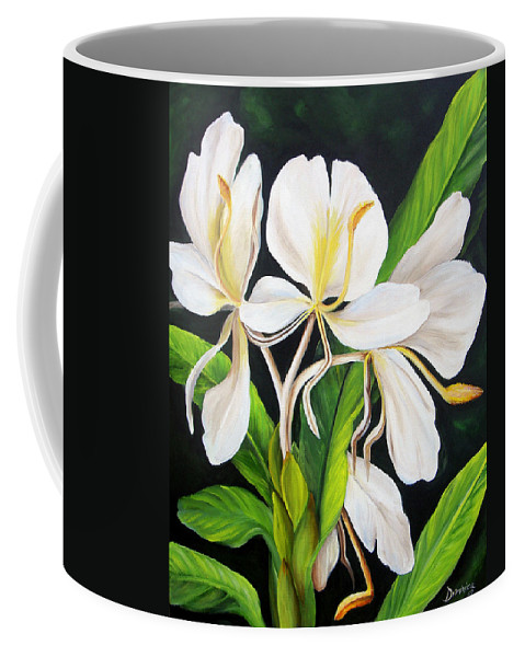 Floral Coffee Mug featuring the painting White Ginger by Dominica Alcantara