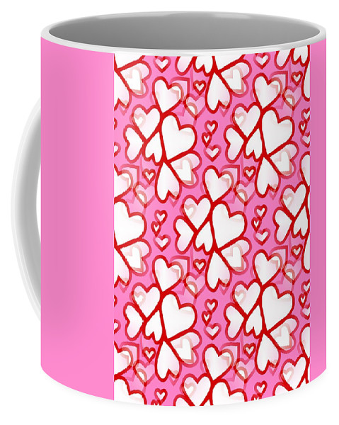 Contemporary Valentines Day Wall Art Coffee Mug featuring the digital art White Hearts - Valentines Pattern by Kathleen Sartoris
