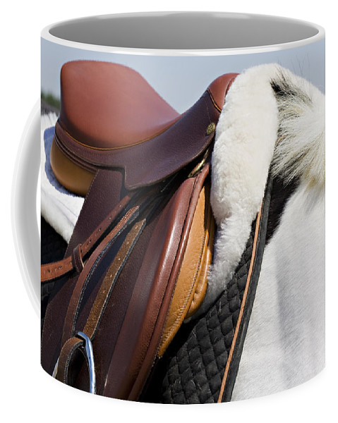 Horse Coffee Mug featuring the photograph White Horse And Saddle by Marilyn Hunt