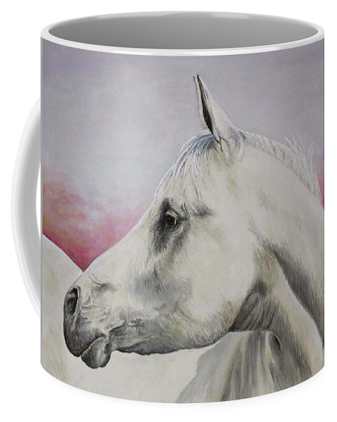 Horse Coffee Mug featuring the painting White Horse- Arabian by Elaine Booth-Kallweit