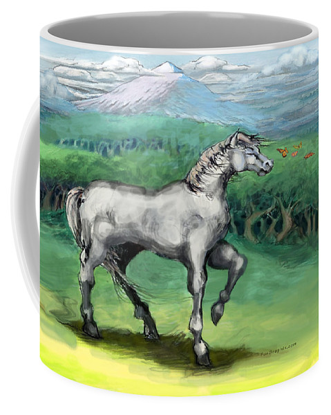 Horse Coffee Mug featuring the painting White Horse by Kevin Middleton