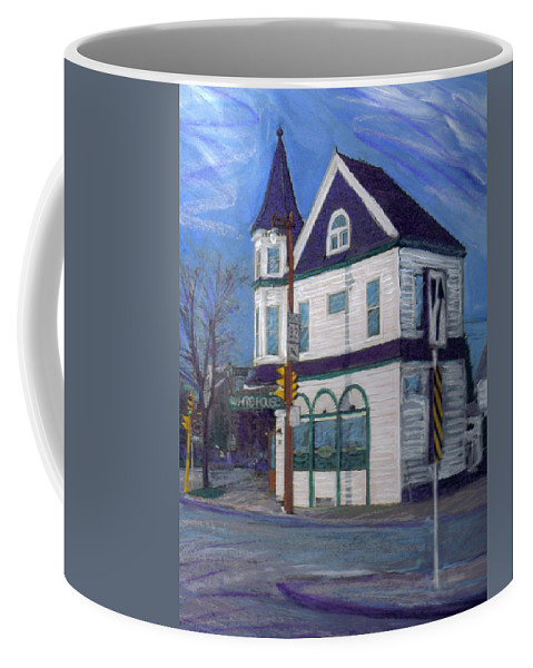 White House Tavern Coffee Mug featuring the mixed media White House Tavern by Anita Burgermeister
