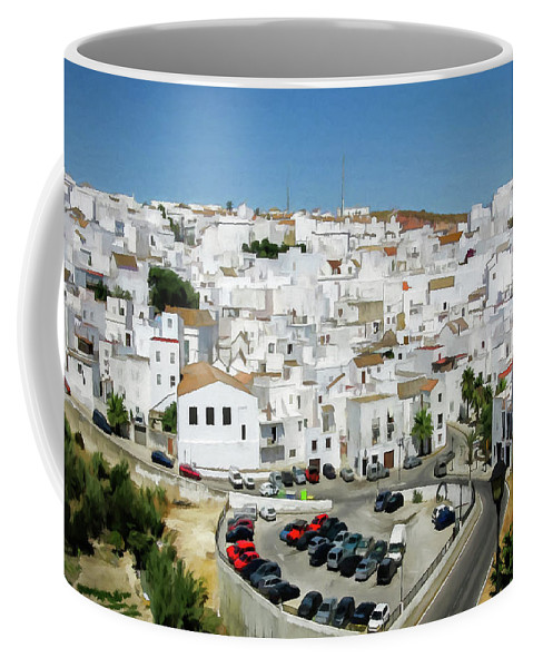 Village Coffee Mug featuring the digital art White Houses by Ronald Bolokofsky