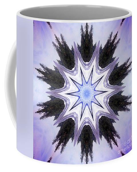 White Coffee Mug featuring the digital art White-lilac-black Flower. Digital Art by Sofia Metal Queen