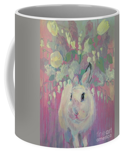 Rabbit Coffee Mug featuring the painting White Lilacs by Kimberly Santini