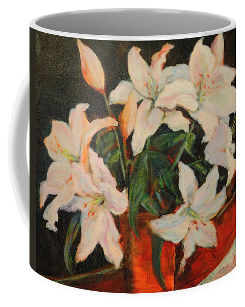 Floral Coffee Mug featuring the painting White Lilies by Nanci Cook