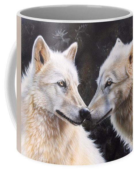 Acrylic Coffee Mug featuring the painting White Magic by Sandi Baker