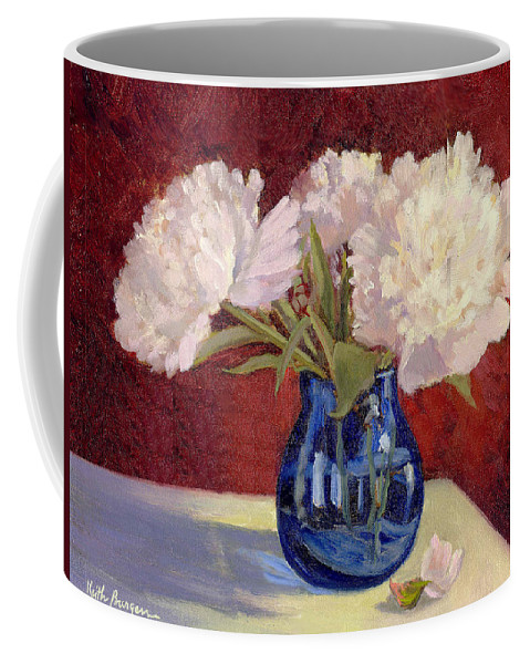 Peonies Coffee Mug featuring the painting White Peonies by Keith Burgess
