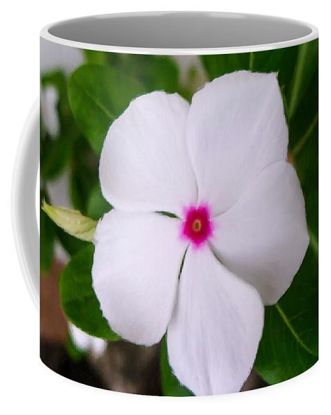 White Periwinkle Flower Coffee Mug featuring the painting White Periwinkle Flower 1 by Jeelan Clark