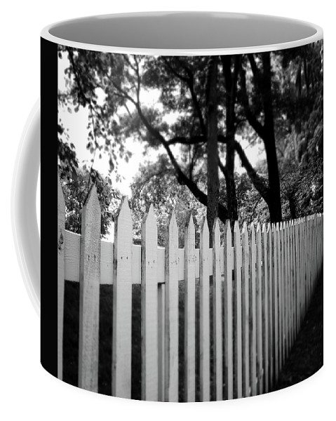 Picket Fence Coffee Mug featuring the photograph White Picket Fence- By Linda Woods by Linda Woods