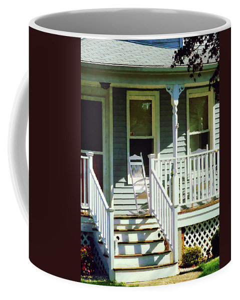 Porch Coffee Mug featuring the photograph White Rocking Chairs by Susan Savad