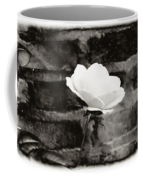 Brick Wall Coffee Mug featuring the photograph White Rose In Black And White by Bill Cannon
