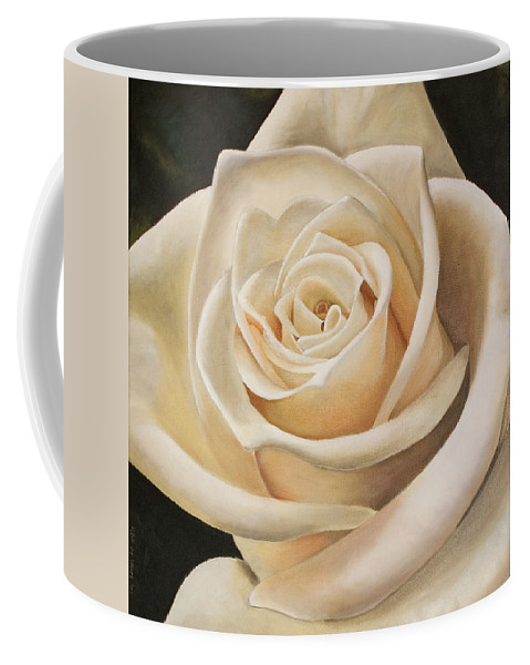 Flower Coffee Mug featuring the painting White Rose by Rob De Vries