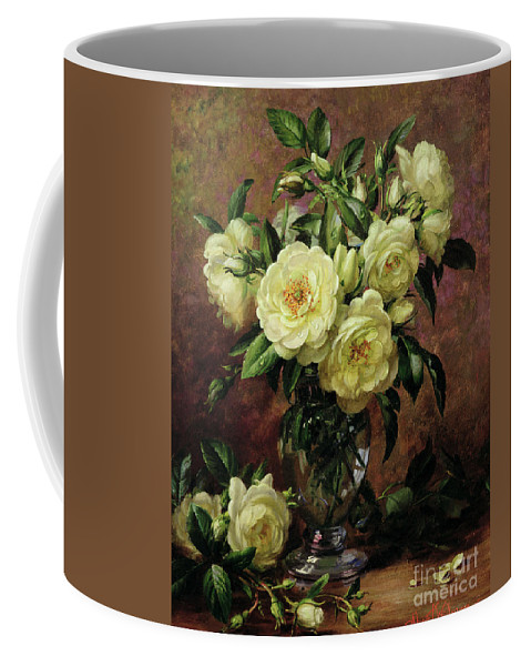 Rose; Still Life; Flower; Arrangement; Vase; Floral; Sentimental; Symbolic; Roses; White Roses; White Roses On The Floor; White Petals On The Floor Coffee Mug featuring the painting White Roses - A Gift From The Heart by Albert Williams
