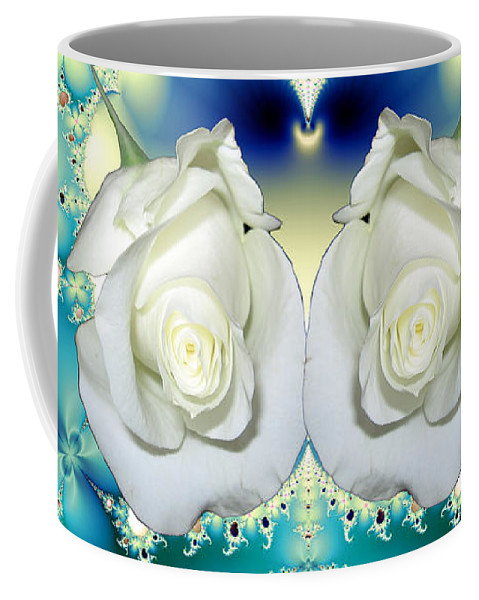 White Roses And Blue Satin Bouquet Fractal Coffee Mug featuring the mixed media White Roses And Blue Satin Bouquet Fractal Abstract by Rose Santuci-Sofranko