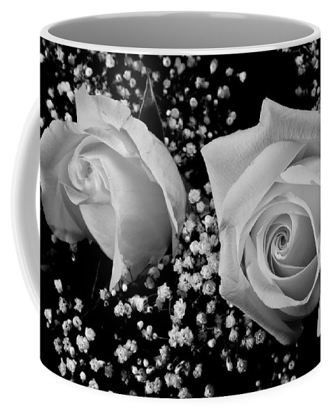 Flowers Coffee Mug featuring the photograph White Roses Bw Fine Art Photography Print by James BO Insogna