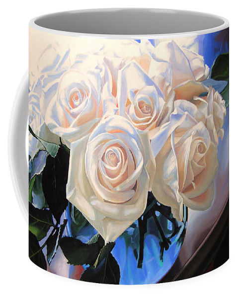 Roses Coffee Mug featuring the painting White Roses by Rebecca Zook