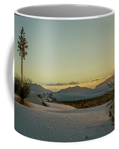 White Sands Coffee Mug featuring the photograph White Sands Sunset by Karen Seargeant