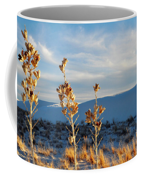 White Sands National Monument Coffee Mug featuring the photograph White Sands Yucca Row by Kyle Hanson