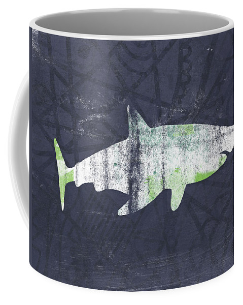 Shark Coffee Mug featuring the painting White Shark- Art By Linda Woods by Linda Woods