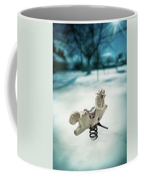 Art Coffee Mug featuring the photograph White Spring Horse by Yo Pedro