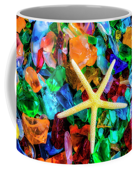 Colorfull Coffee Mug featuring the photograph White Starfish On Sea Glass by Garry Gay