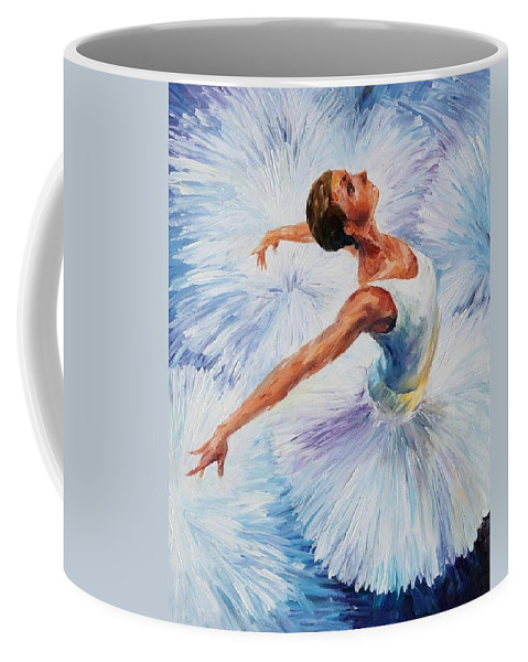 Afremov Coffee Mug featuring the painting White Swan by Leonid Afremov