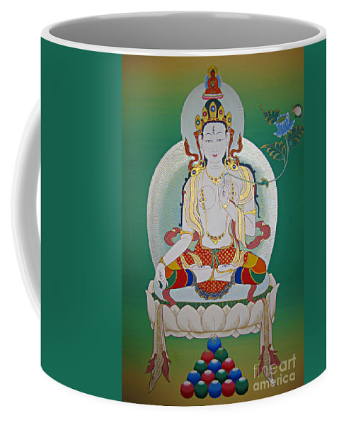 Thangka Coffee Mug featuring the painting White Tara by Sergey Noskov