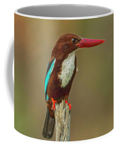Halcyon Smyrnensis Coffee Mug featuring the digital art White-throated Kingfisher by Ron Racine