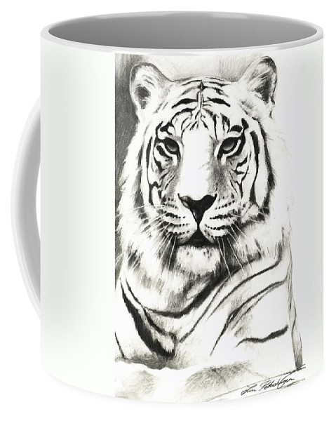 Lin Petershagen Coffee Mug featuring the drawing White Tiger Portrait by Lin Petershagen