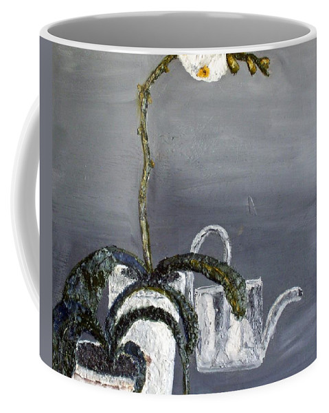 Still Life Paintings Coffee Mug featuring the painting White Wild Orchid by Leslye Miller