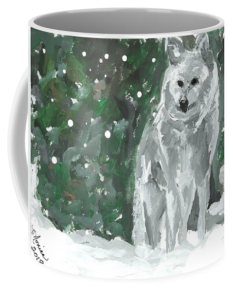 White Wolf Impressionism Art Painting Animal Forest Snow Woods Wildflife Coffee Mug featuring the painting White Wolf Impressionism by Monica Resinger