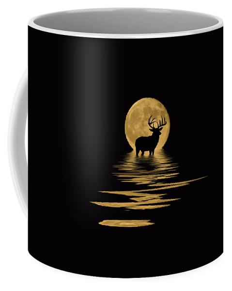 Dark Coffee Mug featuring the mixed media Whitetail Deer In The Moonlight by Shane Bechler
