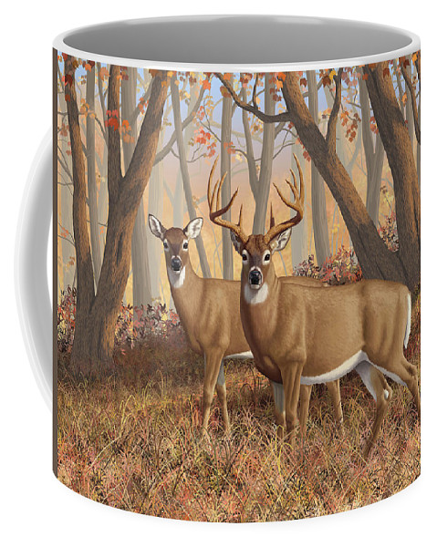 Deers Coffee Mug featuring the painting Whitetail Deer Painting - Fall Flame by Crista Forest