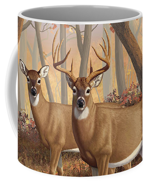 Deers Coffee Mug featuring the digital art Whitetail Deer Painting - Fall Flame by Crista Forest