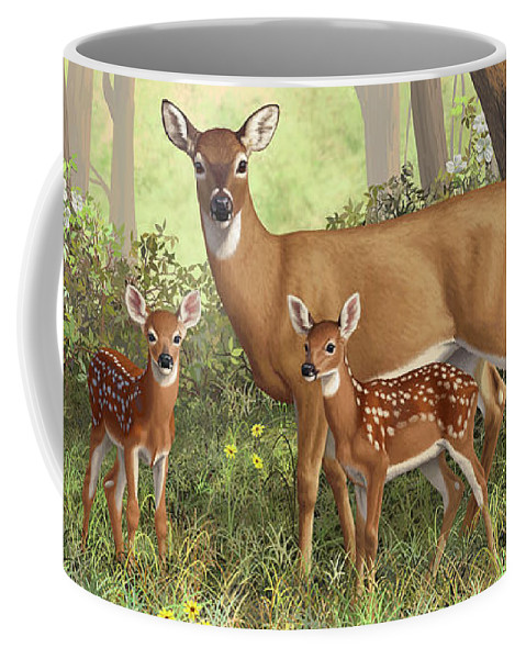 Whitetail Deer Coffee Mug featuring the painting Whitetail Doe And Fawns - Mom's Little Spring Blossoms by Crista Forest