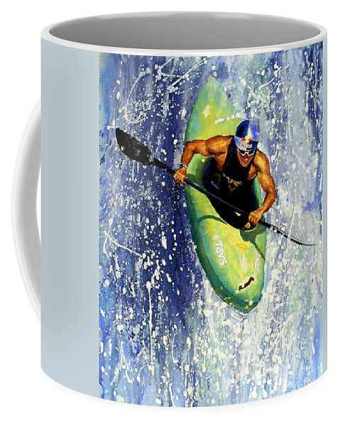 Kayaker Coffee Mug featuring the painting Whitewater Kayaker by Lynee Sapere