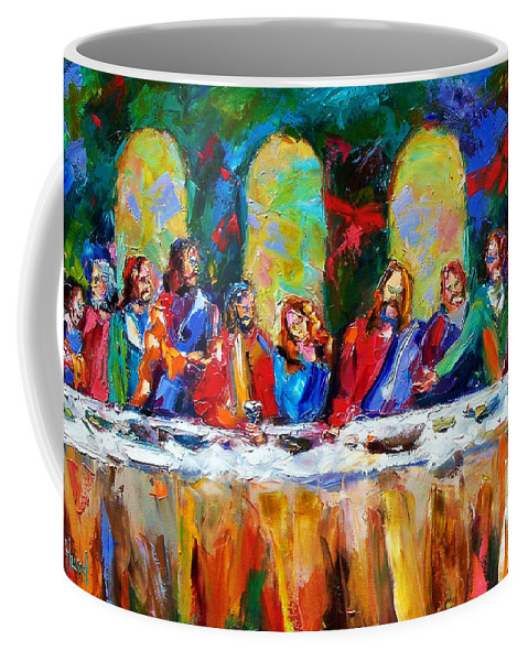 Last Supper Coffee Mug featuring the painting Who Among Us by Debra Hurd