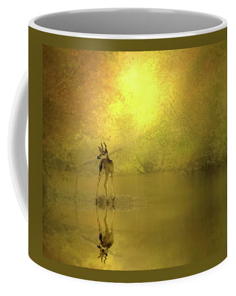 Buck Coffee Mug featuring the photograph A Silent Autumn Morning by Diane Schuster