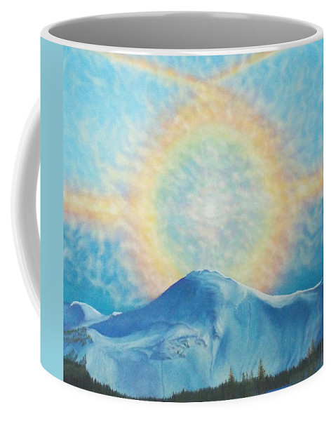 Sun Rainbow Coffee Mug featuring the painting Who Makes The Clouds His Chariot Fire Rainbow Over Alberta Peak by Anastasia Savage Ealy