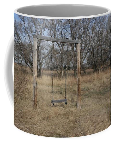 Swing Old Farm Grass Abandoned Trees Playgorund Lost Empty Lonely Coffee Mug featuring the photograph Who Played Here by Andrea Lawrence