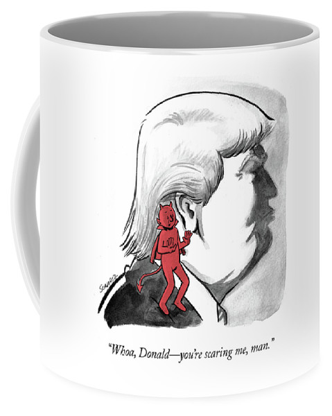 """whoa Coffee Mug featuring the drawing Whoa Donald by Benjamin Schwartz"