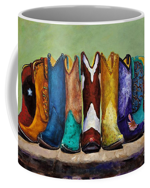 Cowboys Coffee Mug featuring the painting Why Real Men Want To Be Cowboys by Frances Marino