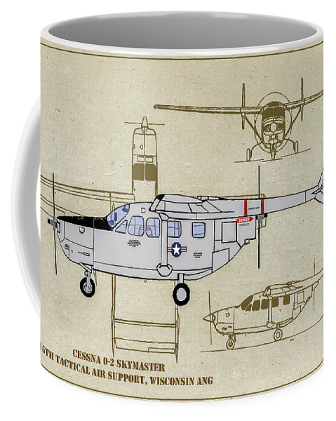 Cessna O-2 Skymaster Coffee Mug featuring the digital art Wi Ang Skymaster Profile by Tommy Anderson