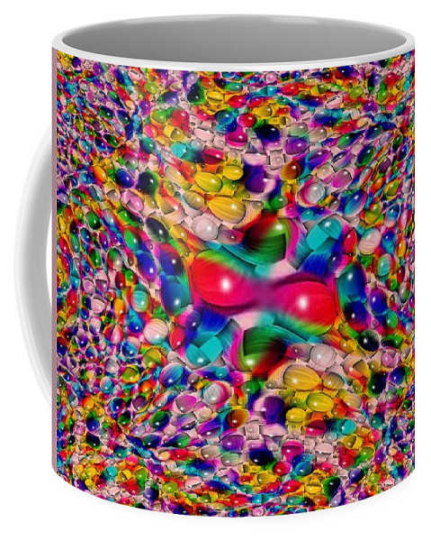 Marble Coffee Mug featuring the photograph Wicker Marble Rainbow Fractal by Tim Allen
