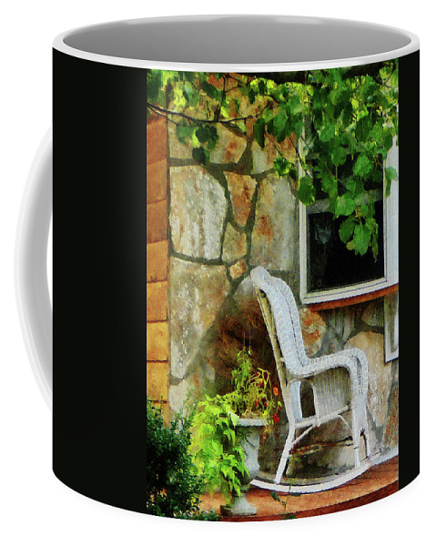 Porch Coffee Mug featuring the photograph Wicker Rocking Chair On Porch by Susan Savad