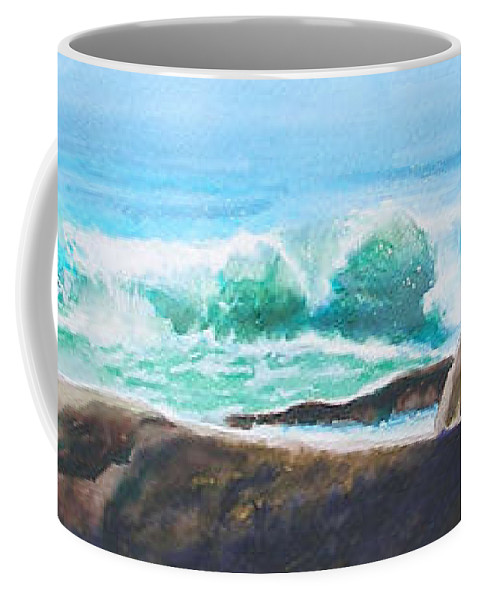 Seascape Coffee Mug featuring the painting Widescreen Wave by Ken Meyer