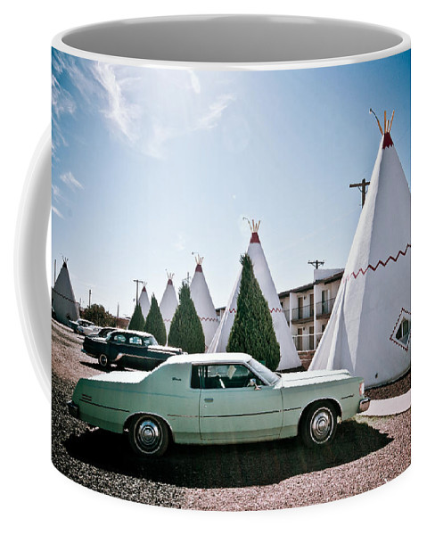 66 Coffee Mug featuring the photograph Wigwam Motel Classic Car #3 by Robert J Caputo