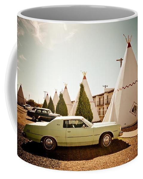 66 Coffee Mug featuring the photograph Wigwam Motel Classic Car #4 by Robert J Caputo